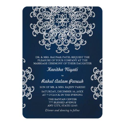 Silver Indian Wedding Invitation