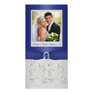 Silver and Navy Photo Card