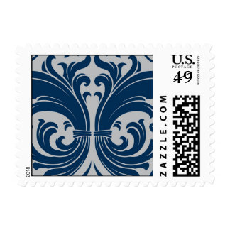 Silver and Navy scrollwork Postage Stamps
