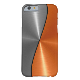 Silver and Orange Stainless Steel Metal Barely There iPhone 6 Case