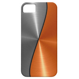 Silver and Orange Stainless Steel Metal iPhone 5 Case