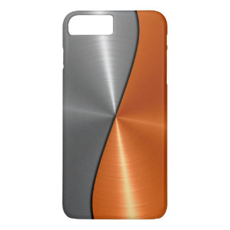 Silver and Orange Stainless Steel Metal iPhone 7 Plus Case