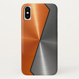 Silver and Orange Stainless Steel Metal iPhone X Case