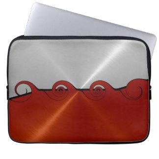 Silver and Orange Stainless Steel Metal Swirl Laptop Sleeve