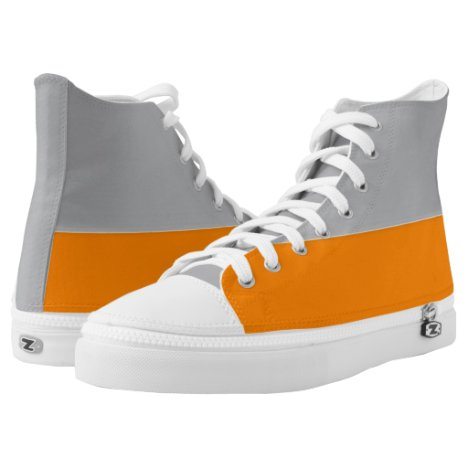 Silver and Orange Two-Tone Zipz Hi-Top