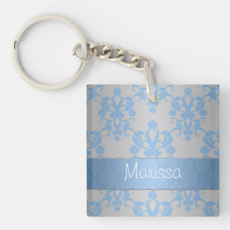 Silver and Pale Blue Damask Acrylic Keychain