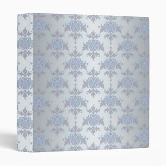 Silver and Pale Blue Fancy Damask Binder
