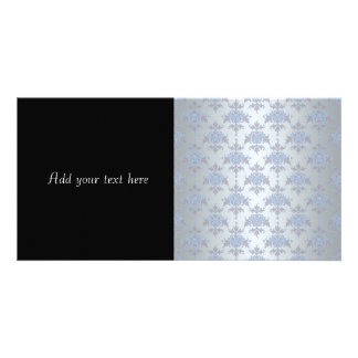 Silver and Pale Blue Fancy Damask Card