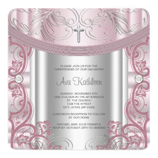 Silver and Pink Baby Girl Christening Card