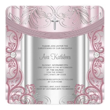 Toddler & Baby themed Silver and Pink Baby Girl Christening Card