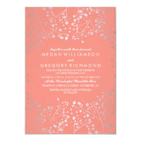 Silver and Pink Baby's Breath Vintage Wedding Card