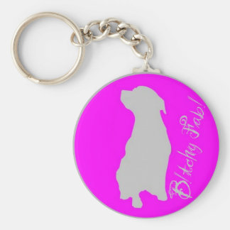Silver and Pink Bitchy Fab Keyring. Keychain