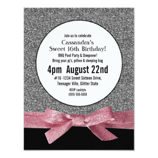 Silver and Pink Faux Glitter Girly Party Card