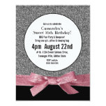 """Silver and Pink Faux Glitter Girly Party 4.25"""" X 5.5"""" Invitation Card"""
