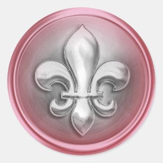 Silver and Pink Fleur de Lis Embossed Look Sticker