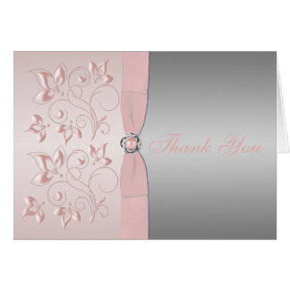 Silver and Pink Floral Love Knot Thank You Note Stationery Note Card