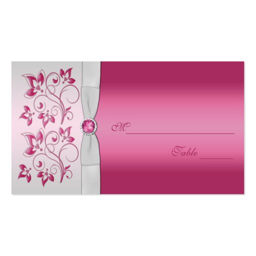 Silver and Pink Floral Placecards Business Card Template