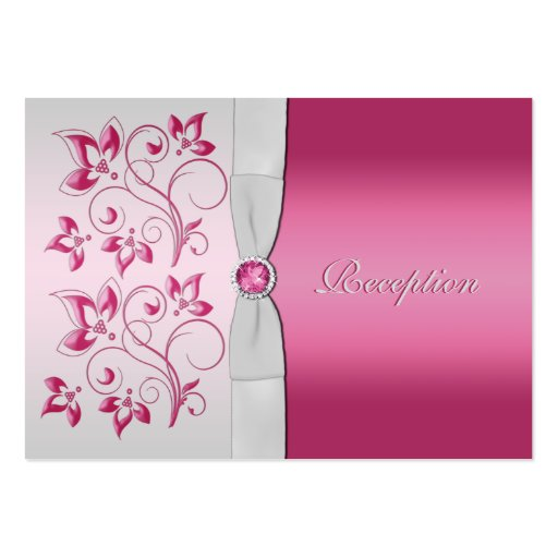 Silver and Pink Floral Reception Card Business Cards