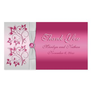Wedding Gift Tag Lines : Silver and Pink Floral Wedding Favor Tag by NiteOwlStudio