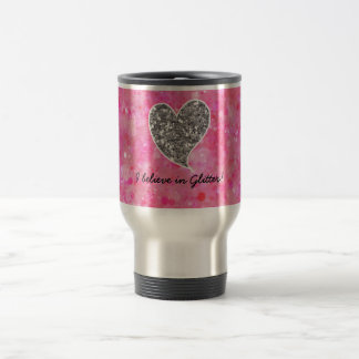 Silver and Pink Glittery Hearts 15 Oz Stainless Steel Travel Mug