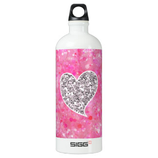Silver and Pink Glittery Hearts Water Bottle
