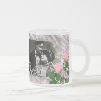 Silver and Pink Love Frame On Silk With Pink Roses Frosted Glass Coffee Mug