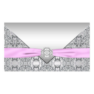 Silver and Pink Seating Cards Business Card