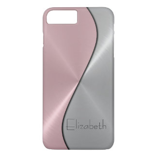 Silver and Pink Stainless Steel Metal iPhone 7 Plus Case
