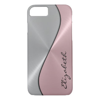 Silver and Pink Stainless Steel Metal iPhone 8/7 Case