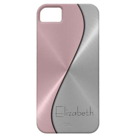 Silver and Pink Stainless Steel Metal iPhone SE/5/5s Case