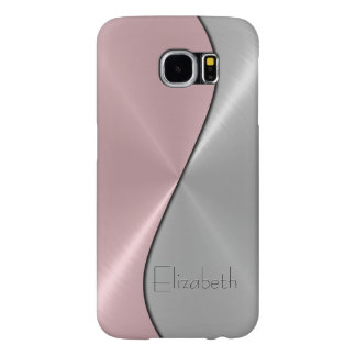 Silver and Pink Stainless Steel Metal Samsung Galaxy S6 Case