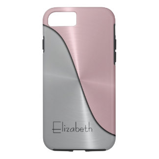 Silver and Pink Steel Metallic iPhone 7 Case