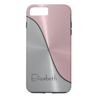 Silver and Pink Steel Metallic iPhone 8 Plus/7 Plus Case