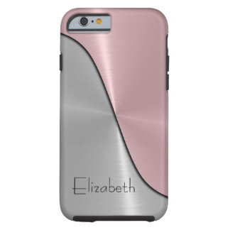 Silver and Pink Steel Metallic Tough iPhone 6 Case