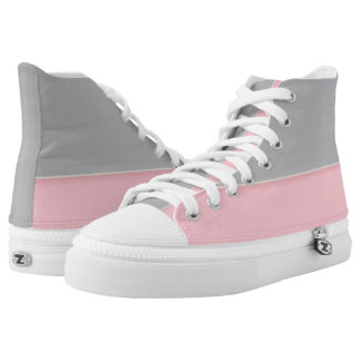 Silver and Pink Two-Tone Zipz Hi-Top