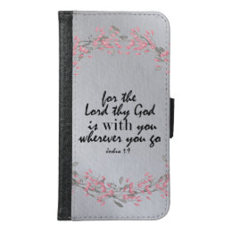 Silver and Pink with Bible Verse Samsung Galaxy S6 Wallet Case