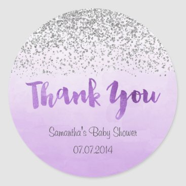 Toddler & Baby themed Silver and Purple Baby Shower Sticker