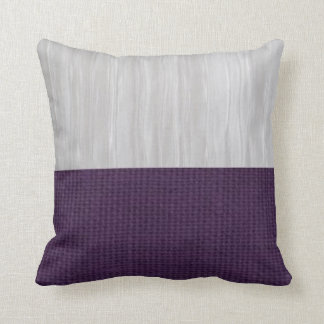 Silver and Purple Burlap Pillow