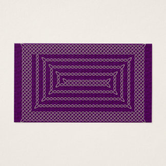 Silver And Purple Celtic Rectangular Spiral Business Card