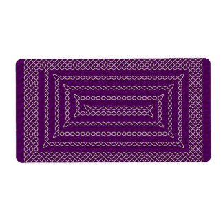 Silver And Purple Celtic Rectangular Spiral Label