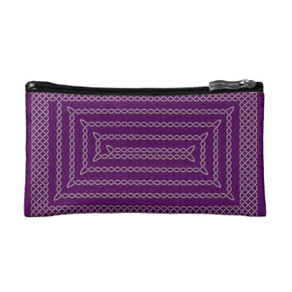 Silver And Purple Celtic Rectangular Spiral Makeup Bag