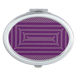Silver And Purple Celtic Rectangular Spiral Mirror For Makeup