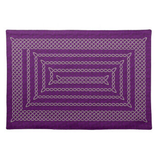 Silver And Purple Celtic Rectangular Spiral Place Mat