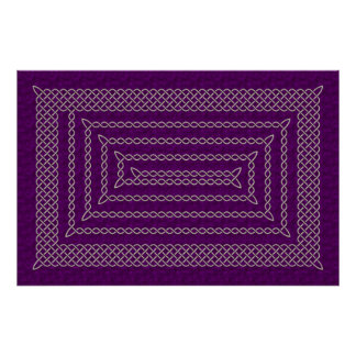 Silver And Purple Celtic Rectangular Spiral Poster