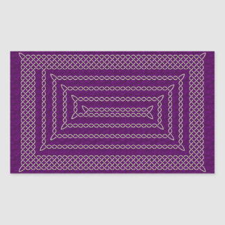 Silver And Purple Celtic Rectangular Spiral Stickers