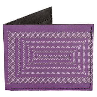 Silver And Purple Celtic Rectangular Spiral Tyvek® Billfold Wallet