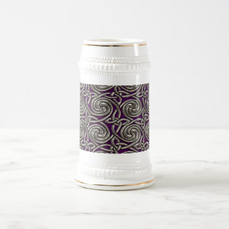 Silver And Purple Celtic Spiral Knots Pattern Beer Stein