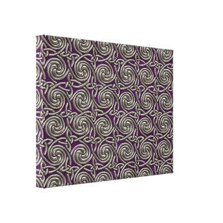 Silver And Purple Celtic Spiral Knots Pattern Canvas Print
