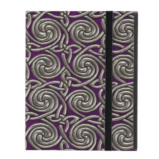 Silver And Purple Celtic Spiral Knots Pattern iPad Cover