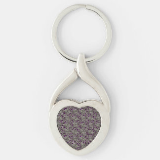 Silver And Purple Celtic Spiral Knots Pattern Keychain